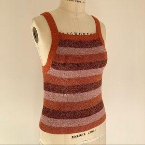 KATE SPADE Metallic Stripe Tank Pink Orange Brown